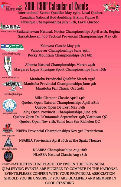 2018 CBBF Calendar of Events